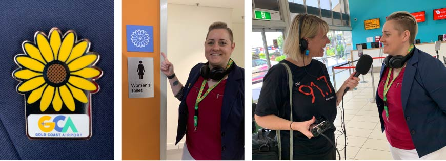 Three images - a Sunflower badge with Gold Coast Airport logo, a Sunflower sign next to a toilet sign, a radio interview