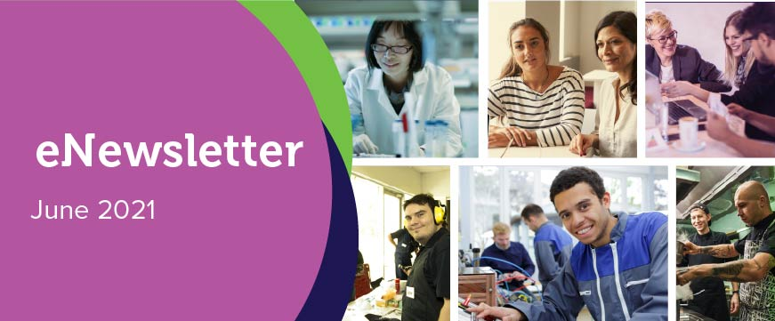 Text: eNewsletter - June 2021. Image: a grid of people in a variety of workplaces