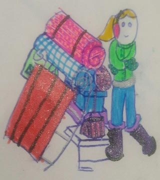 Drawing of a blond girl in winter clothing with blankets, a sled and other snow equipment