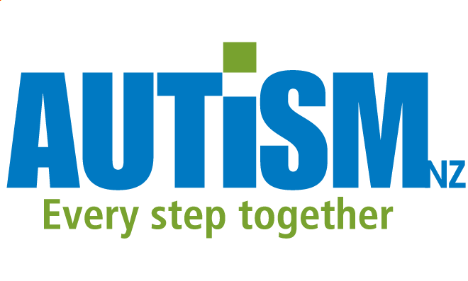 A large group of people stand or sit, many wearing a dark blue shirt with Autism CRC logo, looking towards the camera.