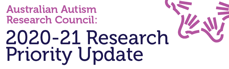 Text in AARC branding: Australian Autism Research Council. 2020-21 Research Priority Update