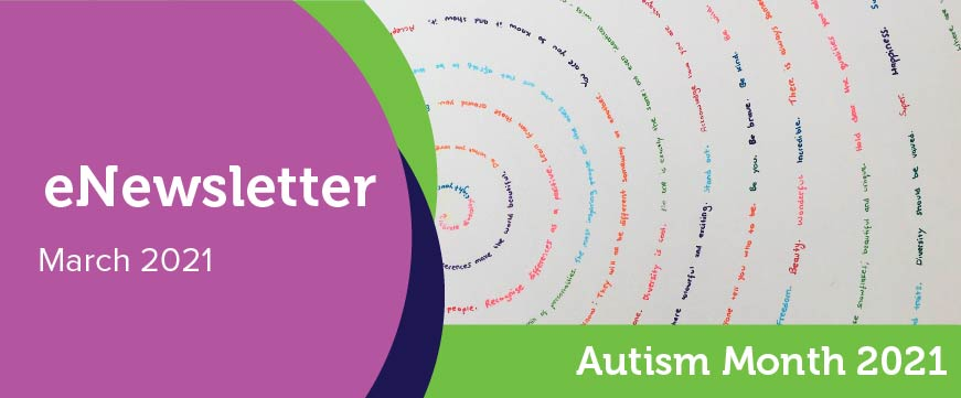 Text: eNewsletter - March 2021. Image: Spirals of text written different colour ink