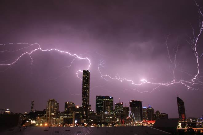 Lightning over Brisbane skyline