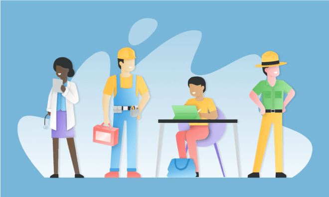 Illustration of people from diverse occupations