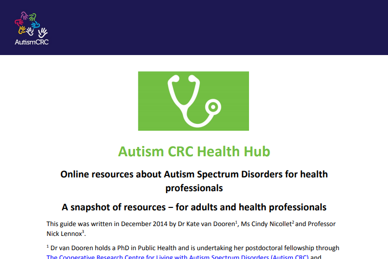 Online resources about Autism Spectrum Disorders for health professionals