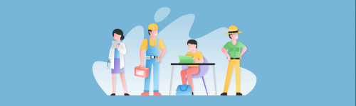 Illustration of people doing various jobs