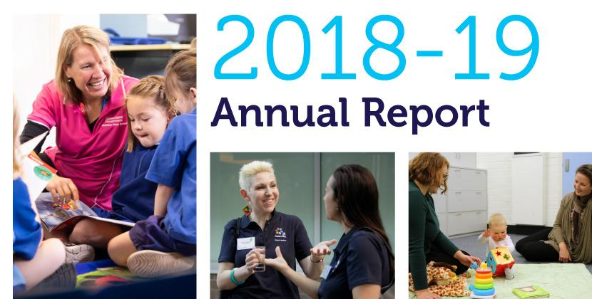 2018-19 Autism CRC Annual Report title with accompanying photographs